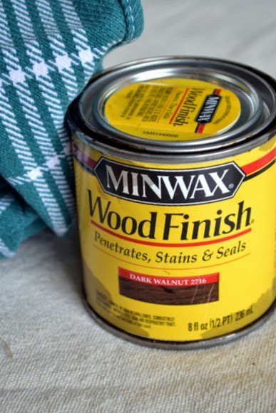 Use Minwax wood stain to finish the redone nightstand.