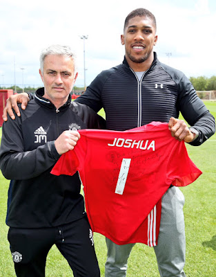 Anthony Joshua Trains With Manchester United Stars Ahead Of Tottenham Clash (Photos)