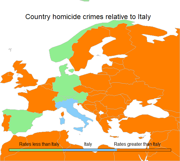 Travelmarx mapping and comparing the murder rates of italy and the map of europe depicting countries in green which have a homicide rate less than italy gumiabroncs Choice Image