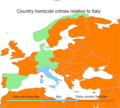 Map of Europe depicting countries in green which have a homicide rate less than Italy.