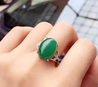 pure green jade cabochon silver jewelry