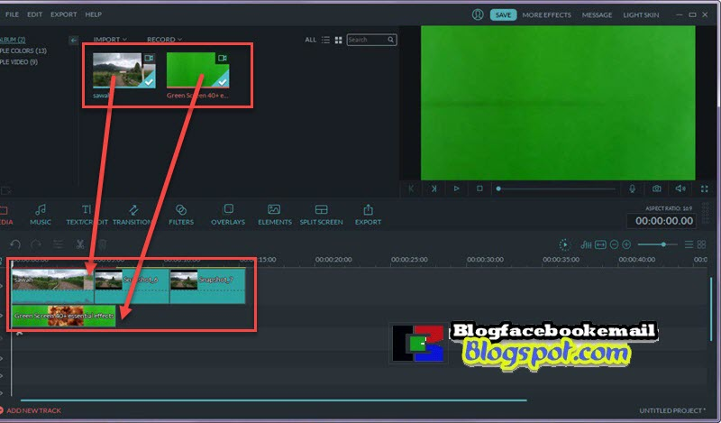 drag dan drop video greenscreen  filmora