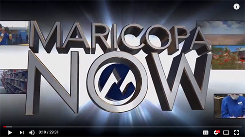 snapshot of latest Maricopa Now show open, featuring show logo