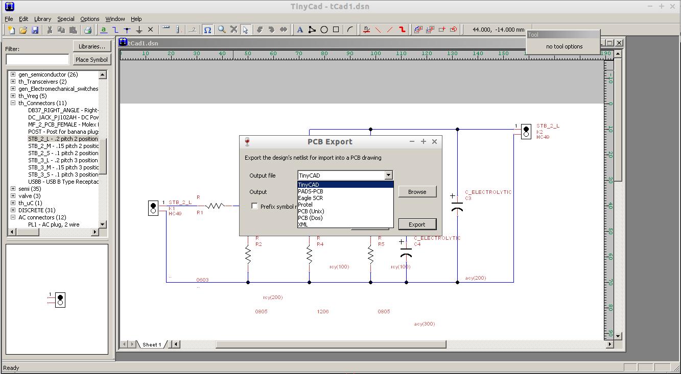blog de VK5HSE: Importing TinyCad schematics into gEDA pcb-rnd