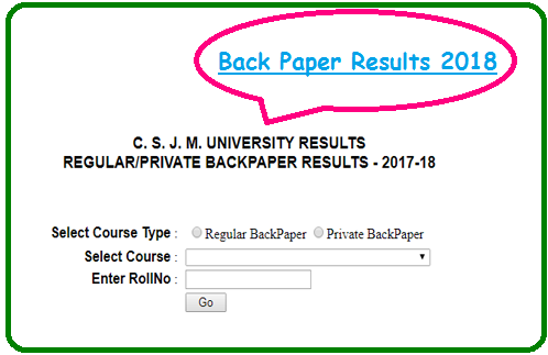 Kanpur University Back Paper Result 2018