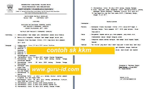 gambar Contoh SK KKM KTSP dan Kurikulum 2013 Peserta Didik Tahun Pelajaran 2017/2018