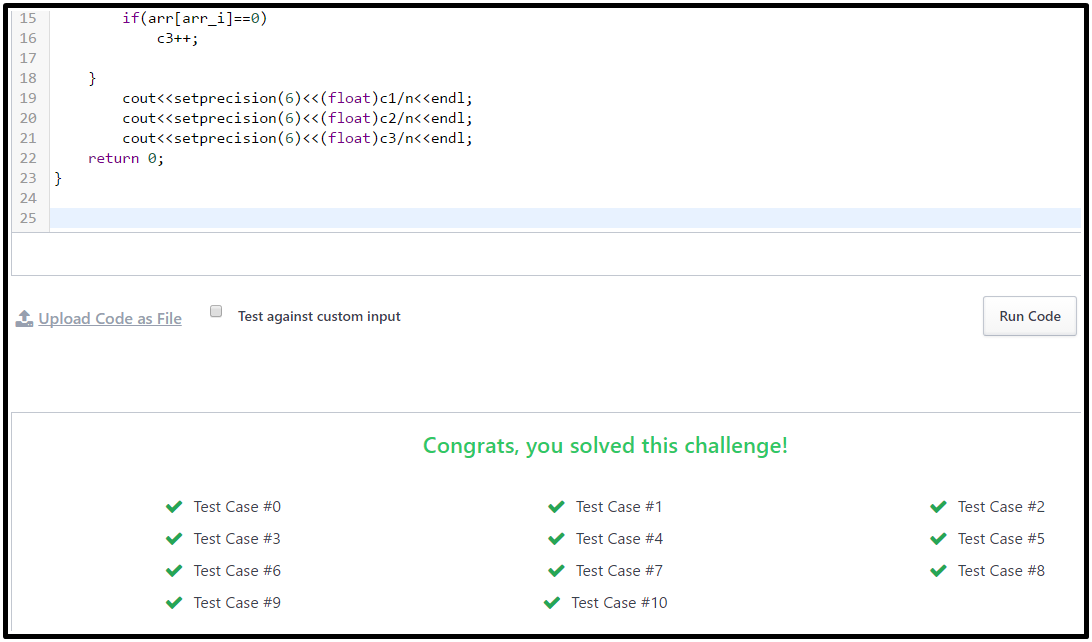 Hacker Rank solution for Plus Minus in C++