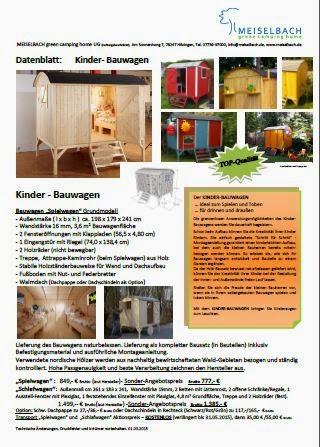 meiselbach mobilheime neues datenblatt vom kinder bauwagen. Black Bedroom Furniture Sets. Home Design Ideas