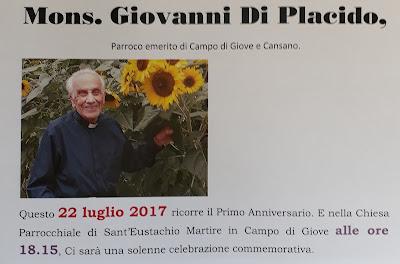 Sabato 22 luglio sarà celebrata una S. Messa in occasione del primo anniversario della morte di Mons. Giovanni Di Placido