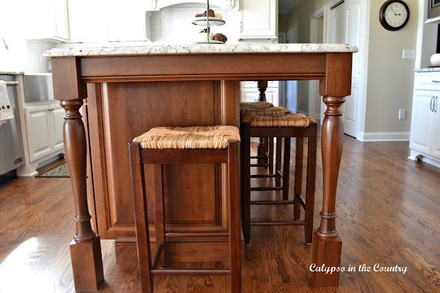 Counter stools on end of island