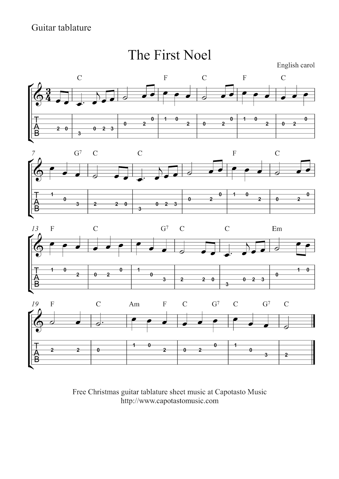free christmas guitar tablature sheet music the first noel. Black Bedroom Furniture Sets. Home Design Ideas