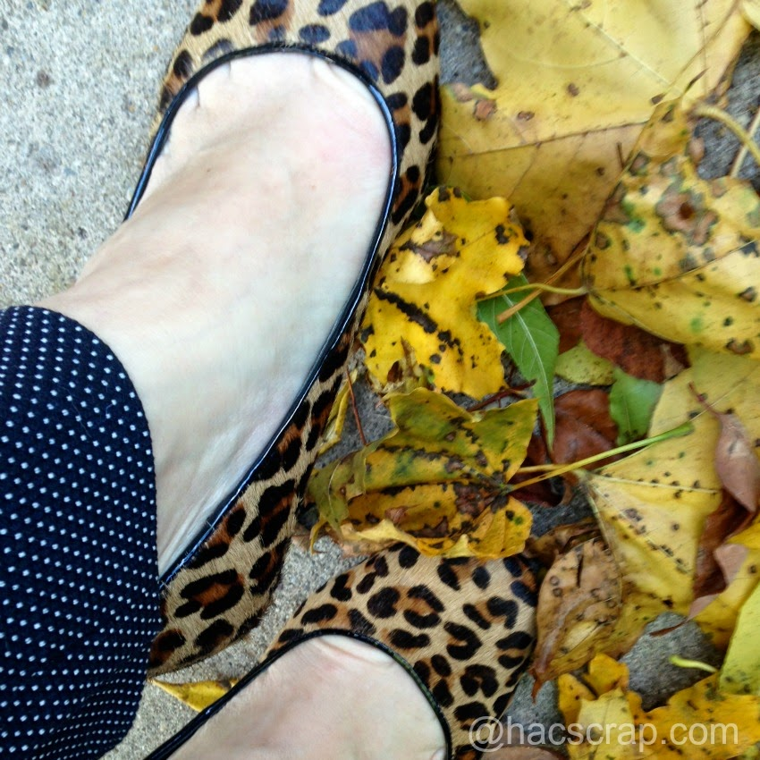 Leopard Heels paired with Polka-Dot Ankle-Length Pants