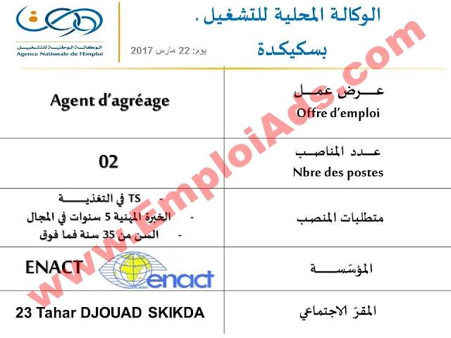 اعلان عرض عمل بمؤسسة ENACT ولاية سكيكدة مارس 2017