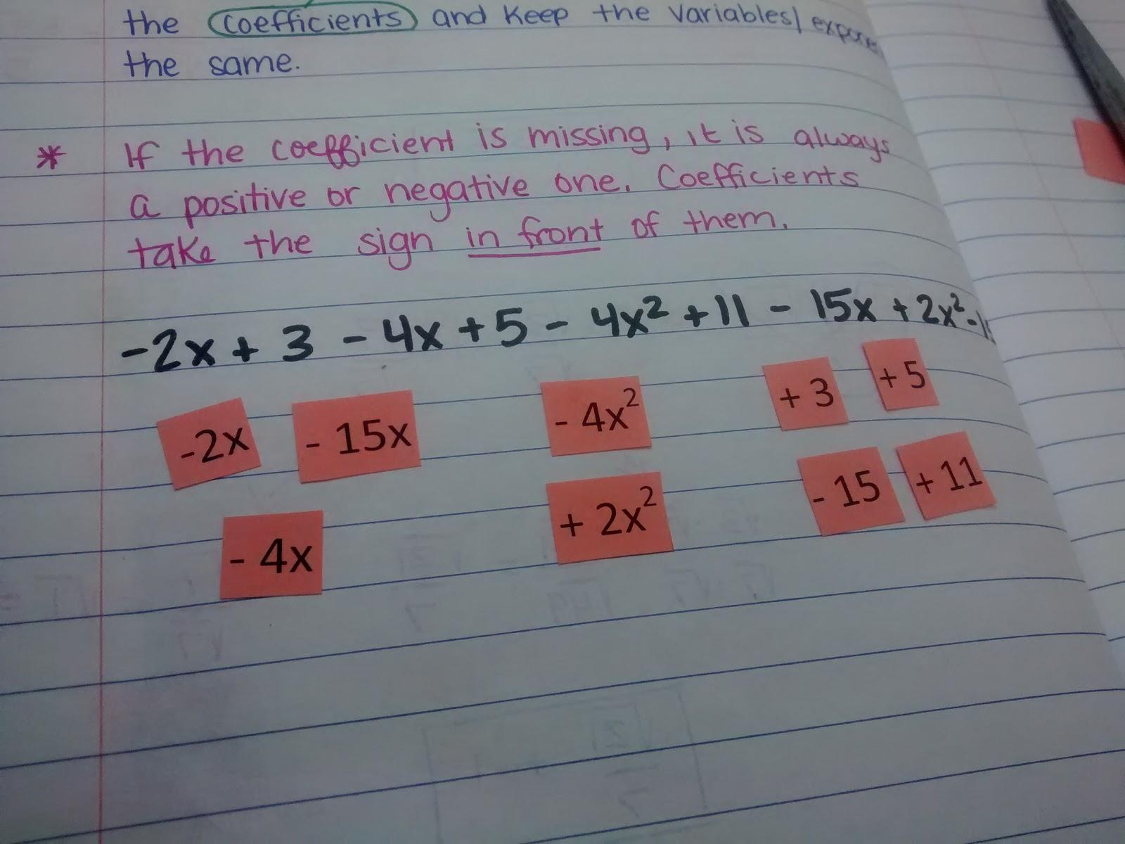 Combining Like Terms Using Algebra Tiles Worksheet