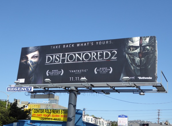 Dishonored 2 video game billboard