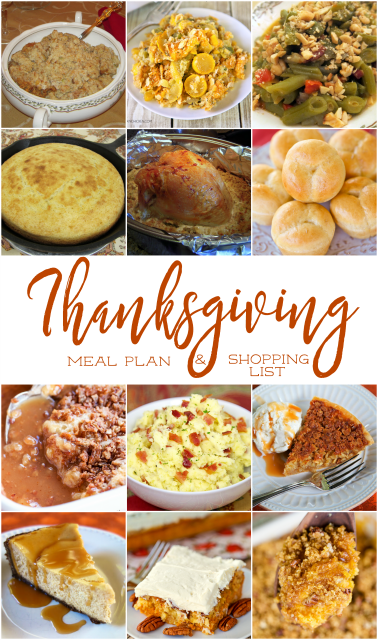 Thanksgiving Meal Plan and Shopping List - get recipes, meal plan and a shopping list to make your holiday meal STRESS-FREE!