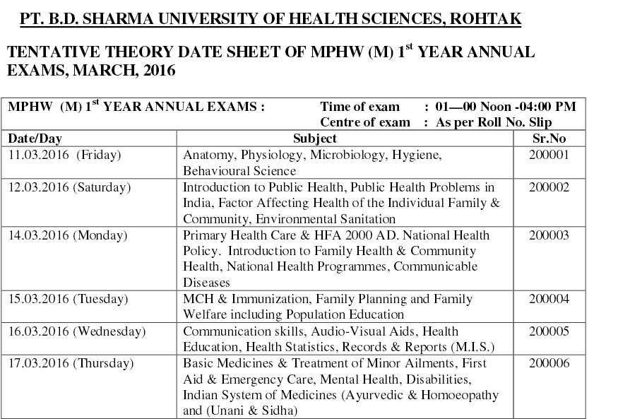 PBDS Uni  MPHW Date Sheet Admit card 2016 Annual Exam 2016 - Job