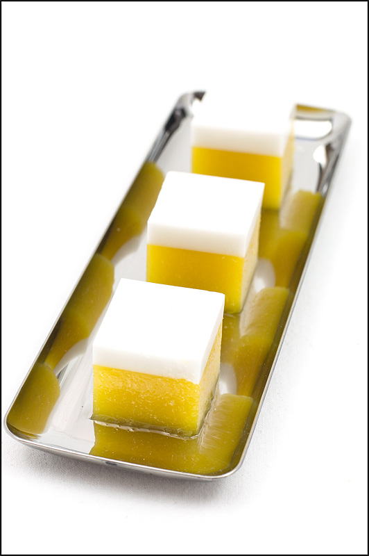 Mango cocos agar cubes thai dessert on tray