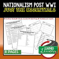 Nationalism Post WWI, World History Outline Notes, World History Test Prep, World History Test Review, World History Study Guide, World History Summer School Outline, World History Unit Overview, World History Interactive Notebook Inserts