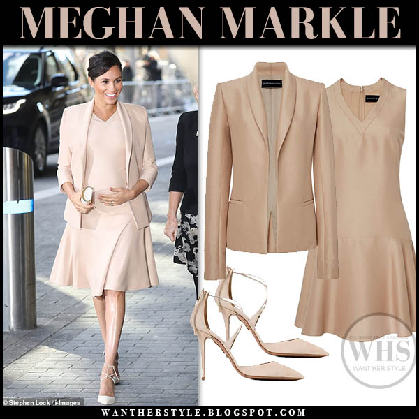 Meghan Markle in beige blazer and beige mini dress brandon maxwell with aquazzura matilde pumps royal family maternity style duchess january 30