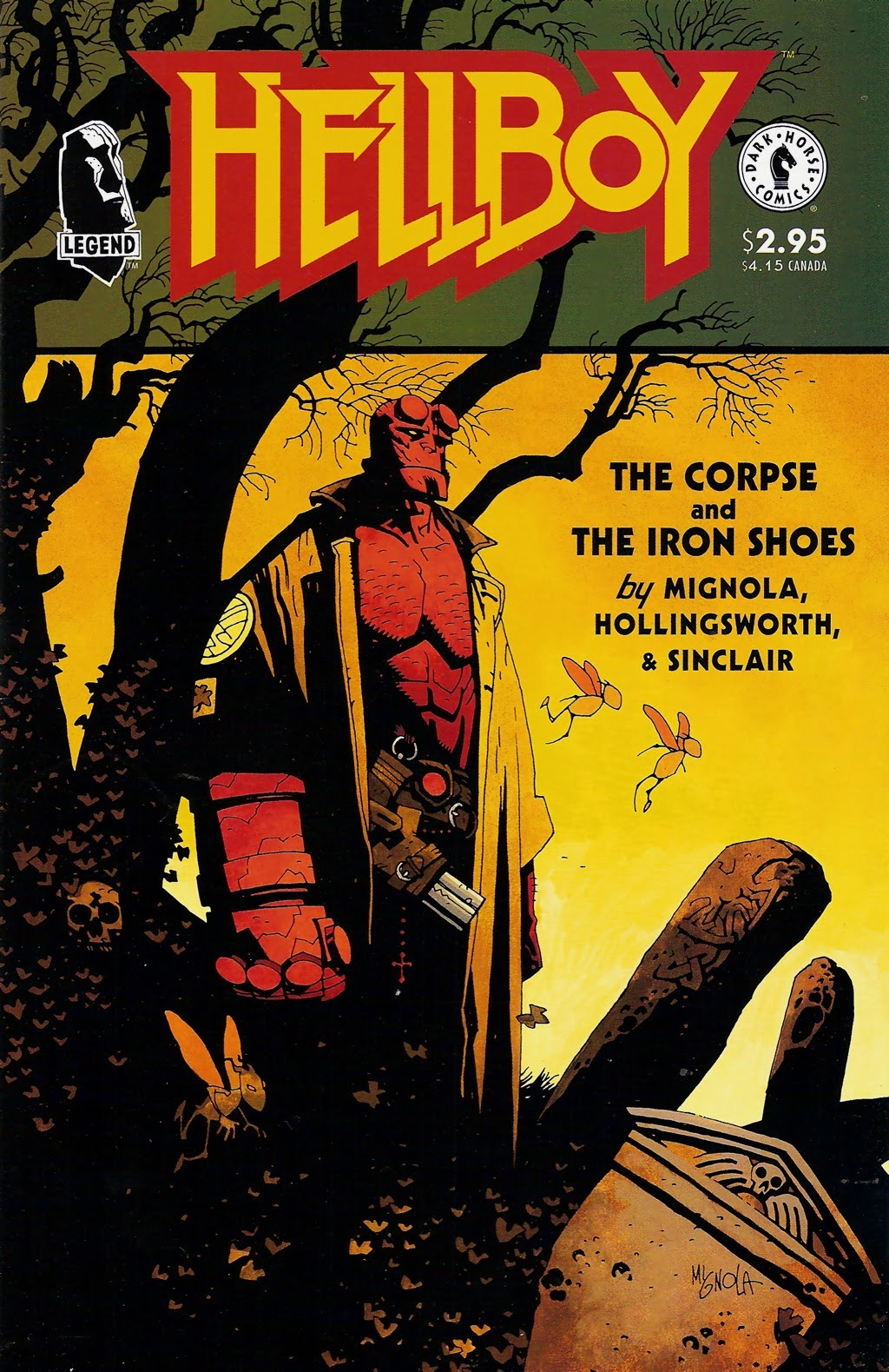 Hellboy standing amidst old graves including one large oblong stone