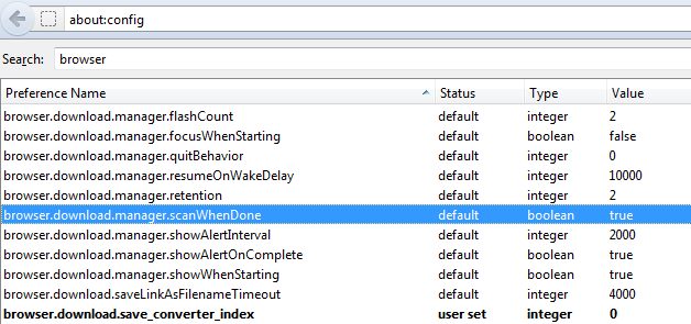 Stop default virus scan on downloaded files