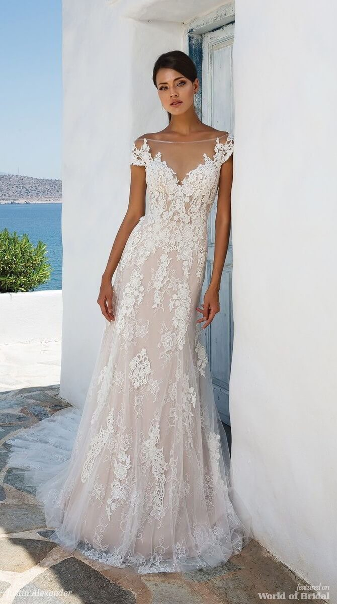 Justin Alexander Spring 2018 Layered Lace Off the Shoulder Gown with Illusion Neckline and Back