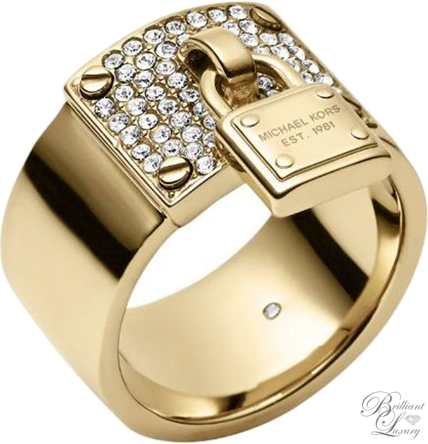Brilliant Luxury ♦ Michael Kors Gold-Tone PadLock Charm Ring