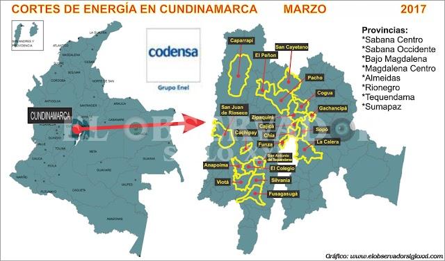 CODENSA anuncia nuevos cortes en el servicio de energía eléctrica en Cundinamarca de marzo 28 al 31