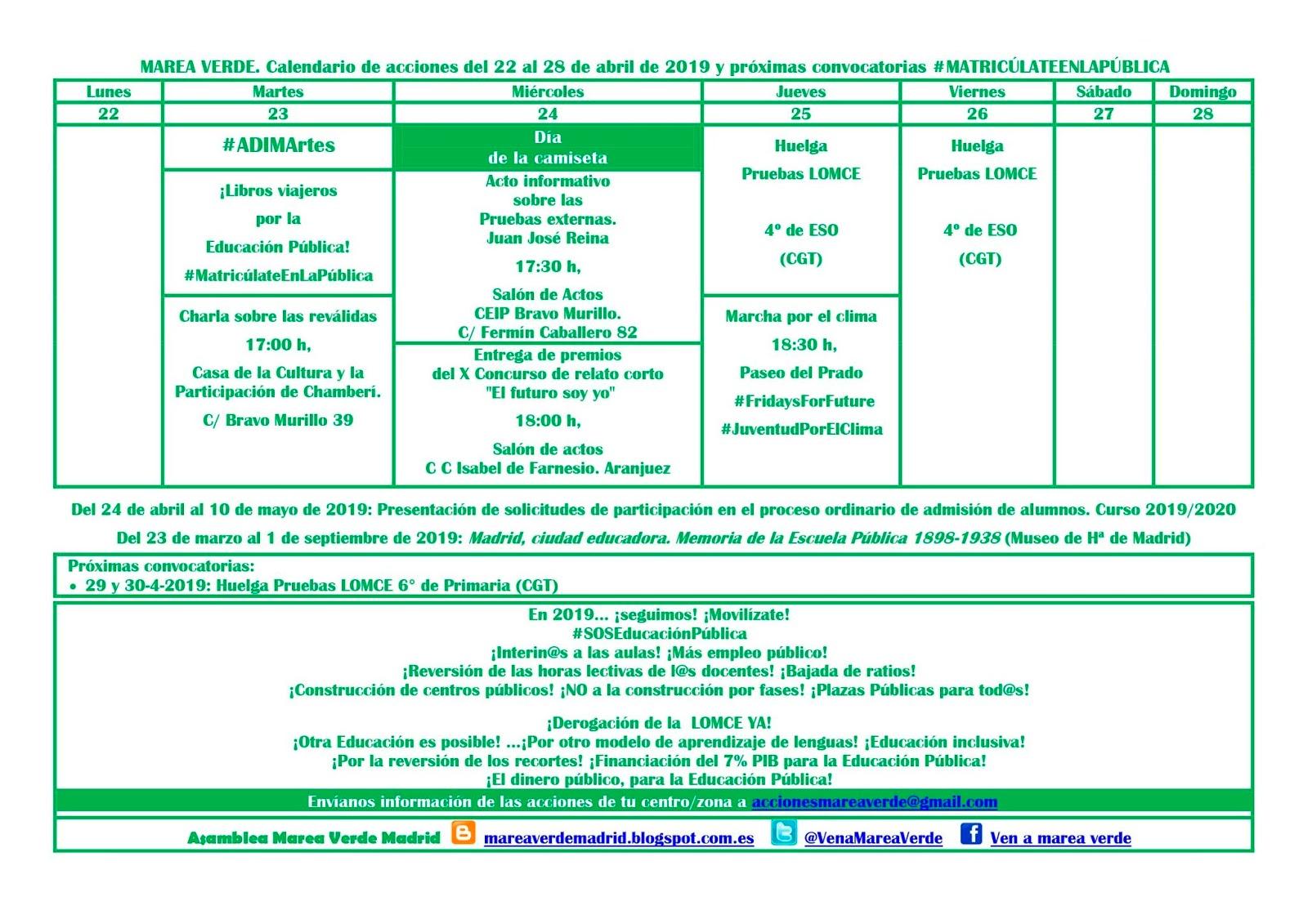 Calendario Ebau 2020 Madrid.Mareaverde Calendario De Acciones Marea Verde Madrid Para