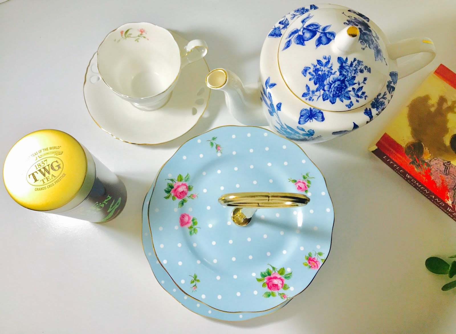 Happy tea time with TWG Tea from our Singapore trip Royal Albert Polka Blue 2-Tier Dessert stand and matching tea cups and tea pot. & ChicSassyMomFinds | Royal Stafford Dinnerware etc.