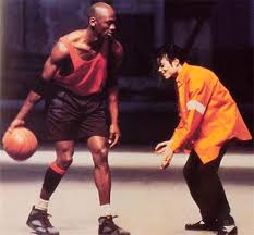 A rare picture of Michael Jordan playing basketball with Michael Jackson