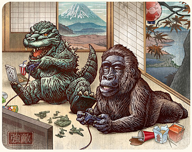 Chet Phillips (US) - Godzilla illustration