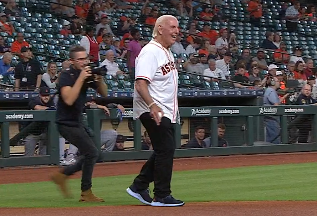Ric Flair tosses first pitch at Astros game 8/21/2019
