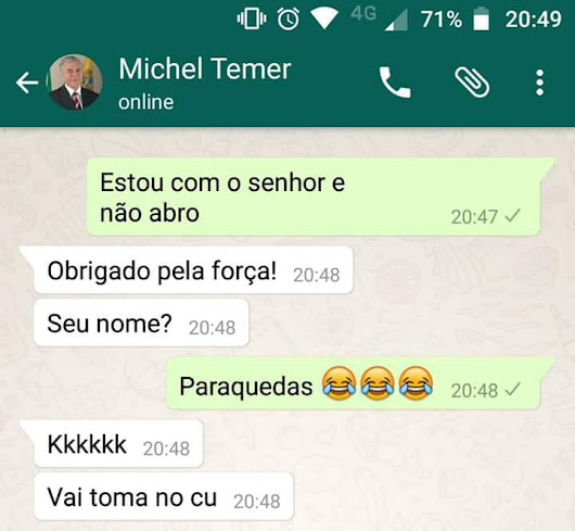 Piada do paraquedas do Michel Temer