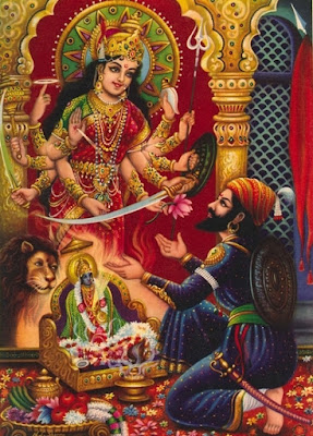 Goddess Bhavani giving the sword to Shivaji