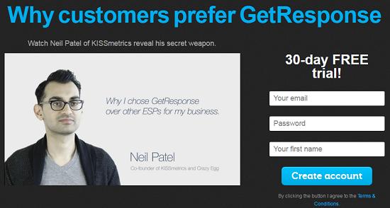 Neil Patel Testimonials, GetResponse
