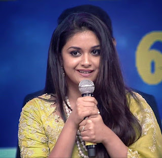 Keerthy Suresh in Saree with Cute and Lovely Smile in Aval Awards 4