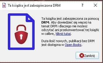 Komunikat w Calibre Viewer przy próbie otwarcia ebooka z DRM