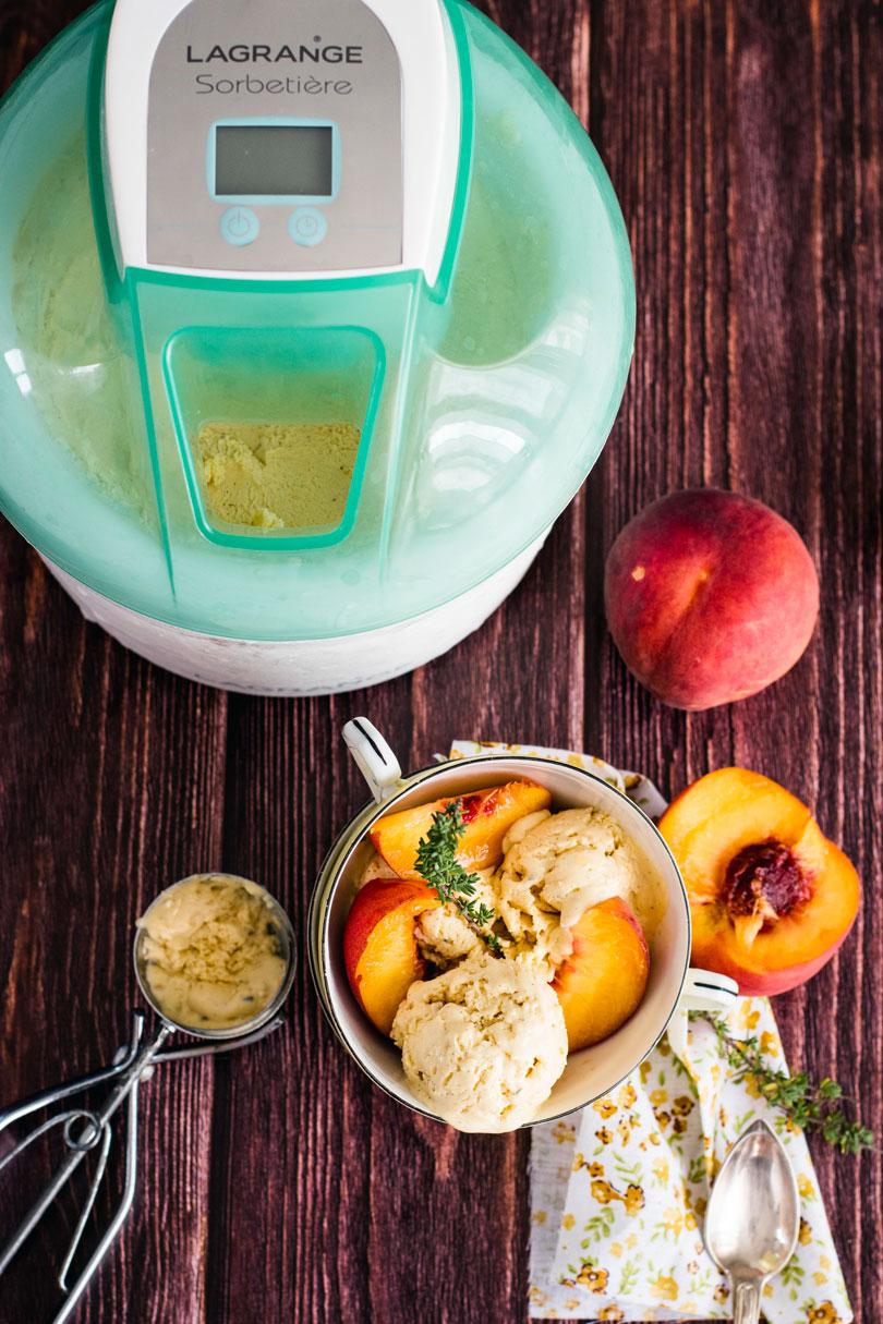recette glace mascarpone pèche thym