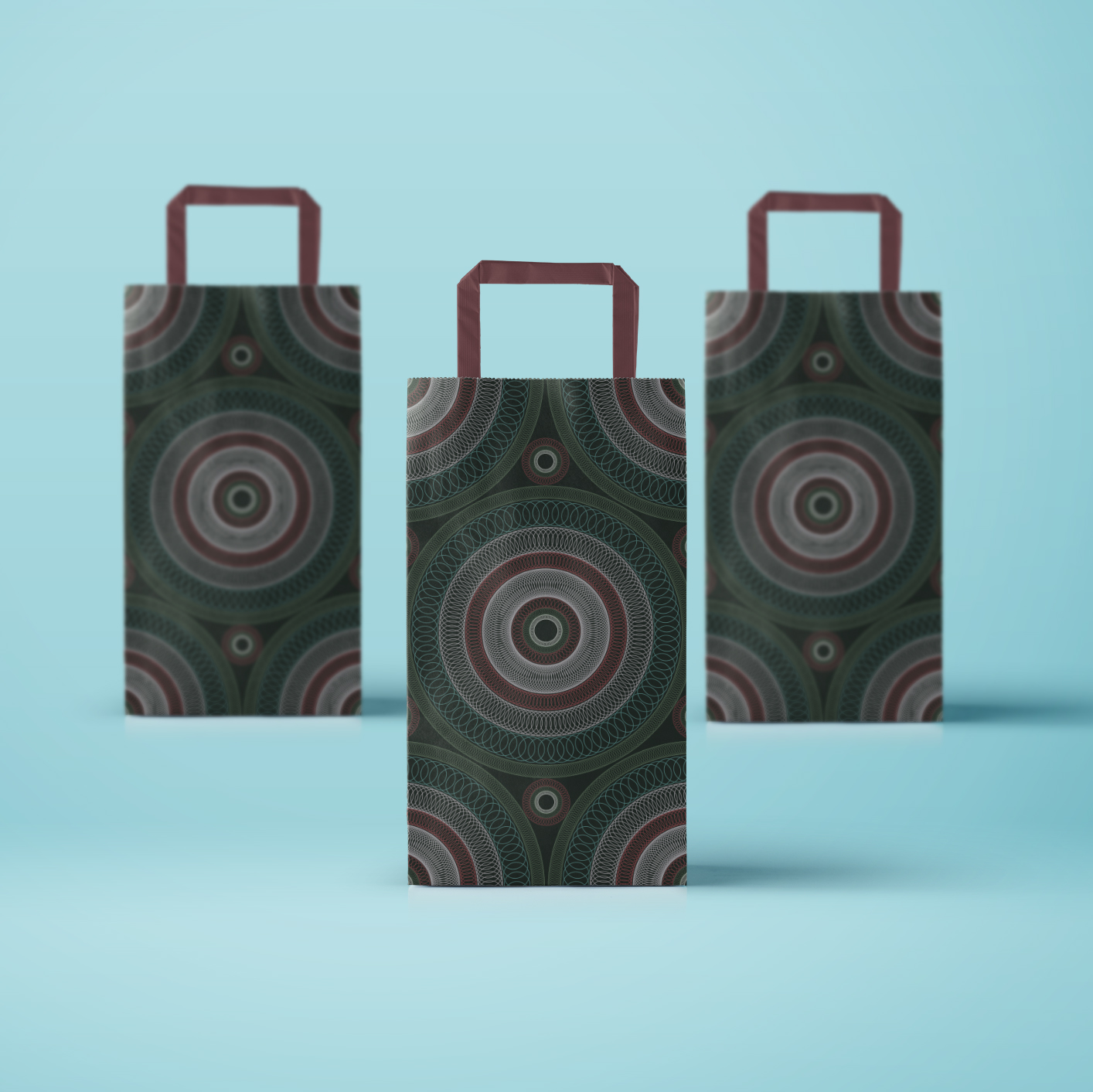 Paper bag design with impressive circular pattern