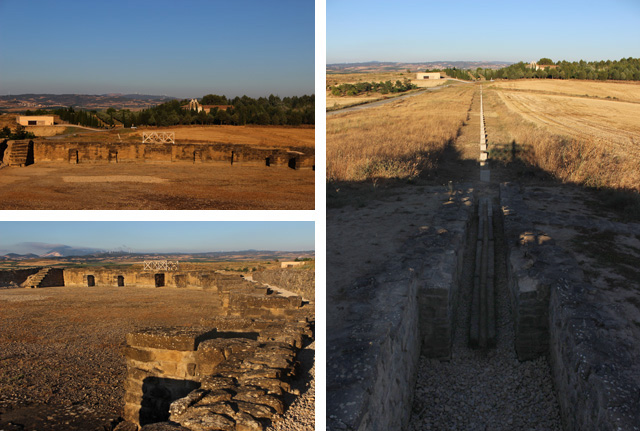 Depósito (izda.) y acueducto de Andelos