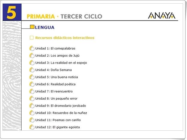 Recursos Interactivos Anaya Lengua Española de 5º de Primaria Deja huella