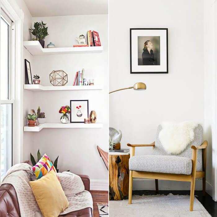 arredare angolo di casa con una sedia e un quadro