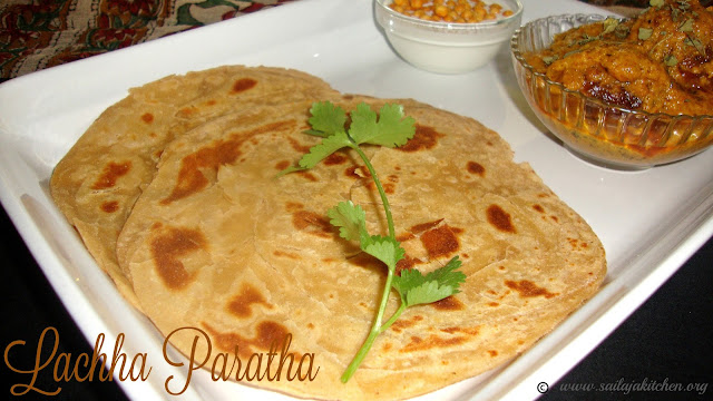 images of Lachha Paratha Recipe / Lacha Paratha / Whole Wheat Lachha Paratha /  Layered Indian Bread