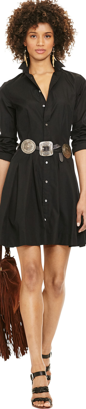 Ralph Lauren Pleated Poplin Shirtdress