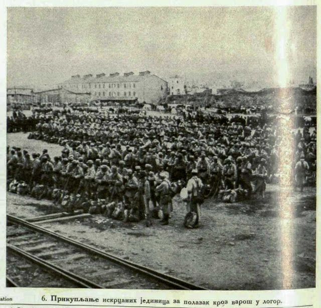 Assembly of the disembarked body of troops for the march through the town to camp.
