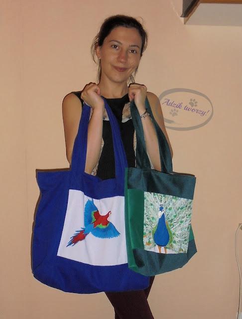 szycie na maszynie torebki damskie ręcznie malowane
