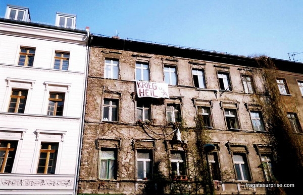 Edifício ocupado por estudantes em Berlim, Alemanha