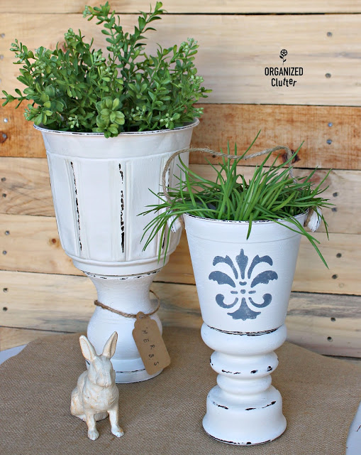 Thrift Shop Candle Holders to Planter Urns #repurpose #thriftshopmakeover #upcycle #stencil #planter